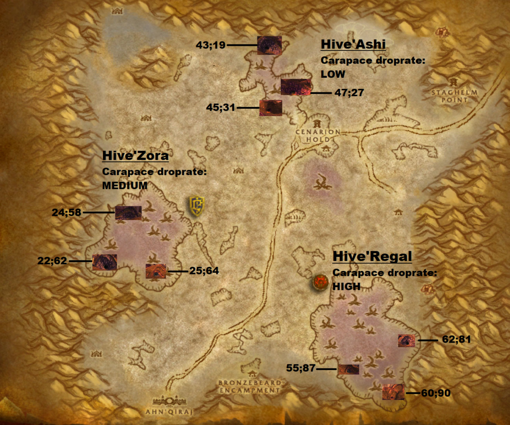 Silithus zone map of carapace drop locations