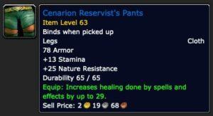 Cenarion Reservists Pants, quest reward nature resistance gear