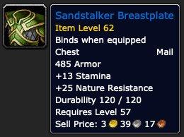 Sandstalker Breastplate, crafted nature resistance gear