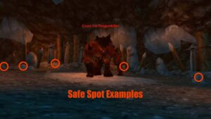 Examples of safe spots to avoid Gruul's ground slam toss